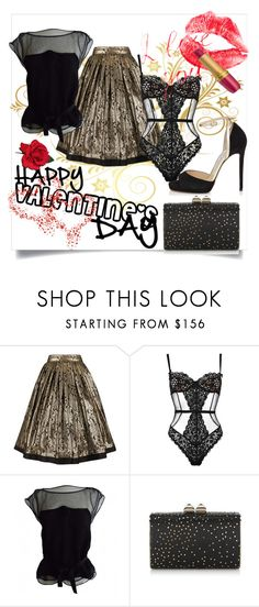 """""""Happy Valentine's day"""" by amaiba ❤ liked on Polyvore featuring Versace, L'Agent By Agent Provocateur, Louis Vuitton and Jimmy Choo"""