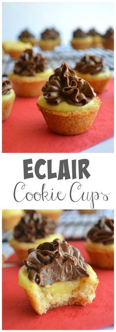Enjoy the flavors of an Eclair in an easy to make cookie cup! Enjoy the flavors of an Eclair in an easy to make cookie cup! Mini Desserts, Just Desserts, Delicious Desserts, Yummy Food, Plated Desserts, Finger Desserts, Party Desserts, Finger Food, Healthy Desserts