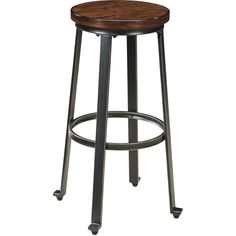 Signature Design by Ashley Challiman Rustic Brown High Stool (Set of 2) (Rustic Brown Tall Stool) (Metal)