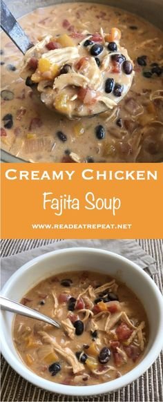 Creamy Chicken Fajita Soup is a flavorful and hearty meal for the whole family! #soup #chicken #fajitas