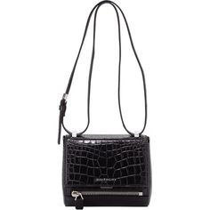 Givenchy Pandora Mini Crocodile-Stamped Box Bag, Black (7,140 MYR) ❤ liked on Polyvore featuring bags, handbags, shoulder bags, givenchy handbags, mini handbags, mini purse, mini shoulder bag and crocodile leather handbags