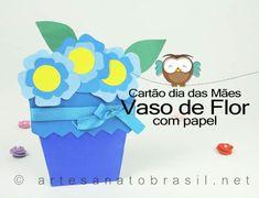 Modelo e Sugestão: Cartão Flores Azul para dia das Mães