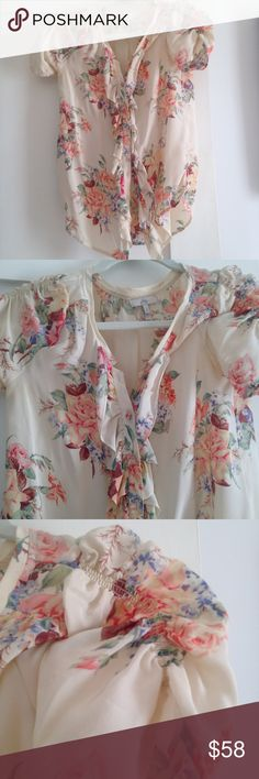 100% silk ruffle blouse Beautiful material, flattering fit. Only worn once. Joie Tops Blouses