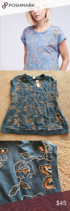 NWT Anthropologie tunic Stunning Akemi & Kin  Sz S Blue Top/tunic Shirt Embellished Anthropologie with copper sequins. Super soft and cute for drawing up or down. Anthropologie Tops Tunics