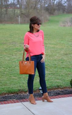 Classic Boatneck Blouse with skinny jeans. + cognac booties and handbag