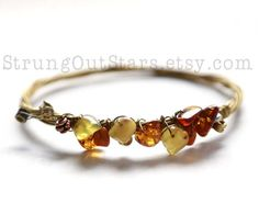 Amber Strung-Out Guitar String Bangle with baltic amber and