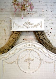 Bed Crown Painted Cottage Chic Shabby Handmade Bed Crown