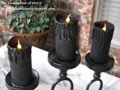 The HumbleNest of Mrs. V: All Hallow's Eve Table...black candles made out of toilet paper rolls