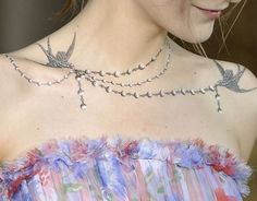 A necklace tattoo is a gorgeous (and permanent!) alternative to traditional jewelry.  These tattoos are basically special pieces of jewelry that you never have to take off — not even in the shower! Click above for more dazzling necklace tattoo ideas.