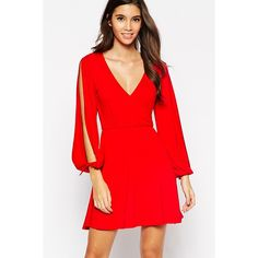 Slit Long Sleeves Plunge V Neck Casual Dress (115 BRL) ❤ liked on Polyvore featuring dresses, long dresses, long red dress, v-neck dresses, v neck dress and long sleeve day dresses