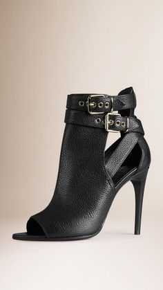 Burberry Buckle Detail Leather Peep-toe Ankle Boots