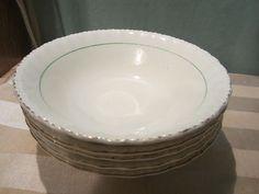 Vintage Grindley Cream Petal Green Line Band 5 Cereal Bowls | eBay