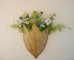 Clay Leaves Wall Pocket - Made with 3 Real Leaves - Flower Holder