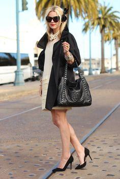 Jacket: BR. Dress: c/o Ali Ro. Shoes: Zara. Purse: Chanel. Bow: F21. Sunglasses: House of Harlow. Jewelry: David Yurman (bracelet c/0) Pomellato, Gap, BR, Michele, accessorize c/o. Nails: Deborah Lippmann Billionare.