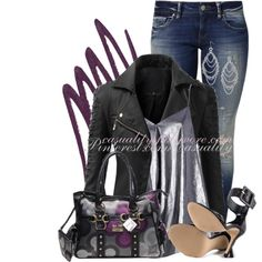 """""""Plum & Leather"""" by casuality on Polyvore"""