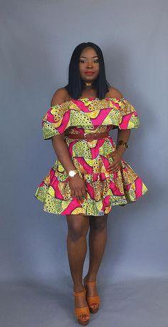 African print off shoulder dressAfrican clothingAfrican
