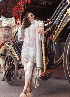 Maria B Mbroidered Eid Collection, pearl white and pastel, women clothing, ethnic clothes Pakistani Dresses Casual, Pakistani Dress Design, Pakistani Bridal, Tulip Pants, Desi Clothes, Ethnic Clothes, Eid Collection, Summer Collection, Indian Wear