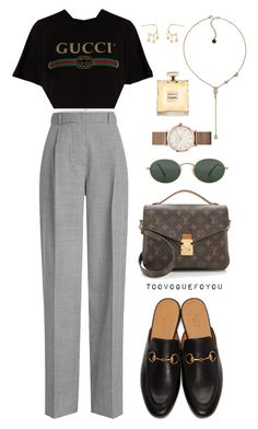 """""""#549"""" by toovoguefoyou ❤ liked on Polyvore featuring Gucci, Victoria Beckham, Karl Lagerfeld, ROSEFIELD, Louis Vuitton and Ray-Ban"""