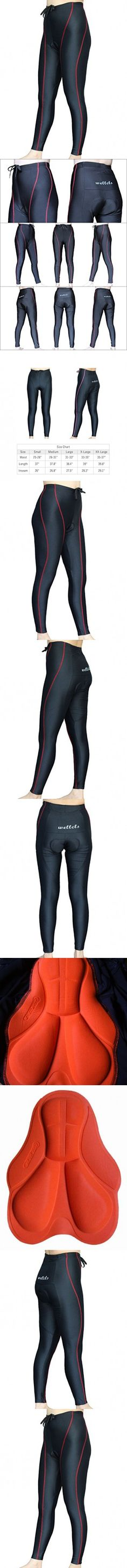 Wellcls Women's Cycling Long Pants 3D Padded Bike Bicycle Wear (Black/Red, XX-Large)