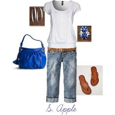 A punch of royal blue!, created by sapple324 on Polyvore    Jewelry at http://www.silvertribe.com/