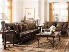 Traditional Brown Bonded Leather Sofa With Nailhead Trim and Rolled Arms | Nebraska Furniture Mart
