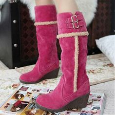 Womens Boots | Fashionable Rose Suede Buckle Round Closed Toe Wedge Mid Heel Boots - Hugshoes.com