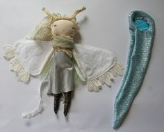 moon moth little Lu doll 13ish handmade cloth doll par humbletoys