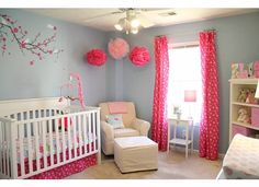 pink and blue girl nursery. Paint is Sherwin Williams Honest Blue. Or I would probably do a light gray so it works for a boy or girl.