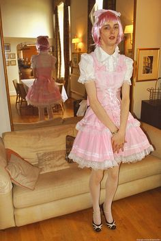 a Sissy in his first dress, his sister gave it to him for his birthday........