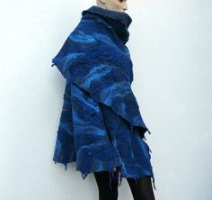 Felted wool cape /  wrap hand felted shawl Blue womens Stole. $175.00, via Etsy.