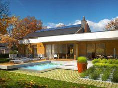 EX 11 (wersja C) soft - projekt domu - Archipelag Bungalow Style House, One Storey House, Gable Roof, Exterior Design, Future House, Interior Inspiration, House Plans, Sweet Home, Villa