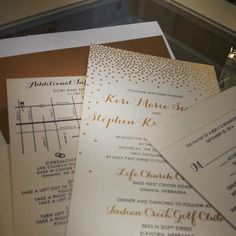 gold foil and letterpress wedding invitation from Chic Ink