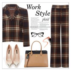 """""""Work Style: Plaid"""" by amchavesj-1 ❤ liked on Polyvore featuring Alberta Ferretti, Louis Vuitton, Prada, Lapcos and plaid"""