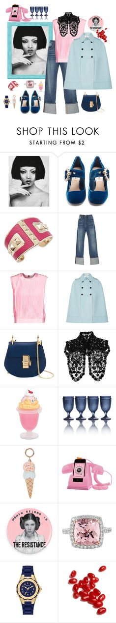 """""""In charge of jelly beans"""" by juliabachmann ❤ liked on Polyvore featuring Miu Miu, RED Valentino, Frame, Pierre Balmain, Valentino, Chloé, Dsquared2, Sophia Webster, Michele and Jelly Belly"""