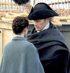 Sam Heughan and Caitriona Balfe on Outlander Season 3 Set in Dunure | January 30, 2017 x