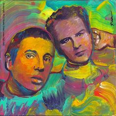 Simon and Garfunkle Bookends Pop Art album cover painting by Howie Green