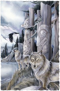 Bergsma Gallery Press::Paintings::Nature::Wild Land Animals::Wolves and Wild Dogs::All Are Sacred - Prints