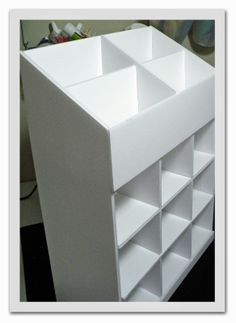 I know it's not cardboard but this will probably be my first cardboard storage project to organize the garage and crafts. Diy Storage Boxes, Craft Room Storage, Craft Organization, Craft Rooms, Punch Storage, Ribbon Organization, Wall Storage, Storage Ideas, Cardboard Furniture
