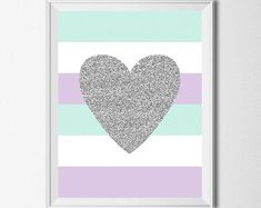 Buy 1 Get 1 Free Heart Print Lavender Mint Gray by EllenPrintable