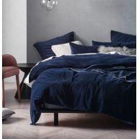 Linen House Deluxe Velvet Navy Queen Quilt Cover Set