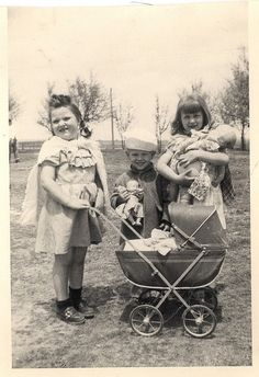 .back in the day, when you really played outside with your baby dolls & strollers