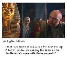 Karl and a mummy coffin.