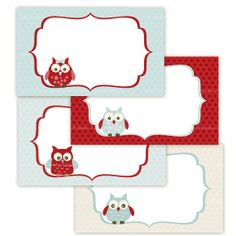 3 x 5 inch  Printable Blue Red Owls Labels by TracyAnnPrintables, $4.00