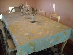 Sea Shells on the Table Cloth 54 x 84 Rectangle by DressYourTable