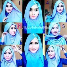 Tutorial Hijab Segi Empat Simple Tapi Mewah dan Elegant dengan aksesoris Headpiece