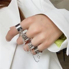 HZ 2019 Punk Cool Hip Pop Multi-layer Adjustable Chain Four Fingers Open Silver Alloy Women Rotate Rings for Women Party Gift In China, App Store, Hip Pop, Cheap Rings, Chains For Men, Love Ring, Aliexpress, Couple, Finger