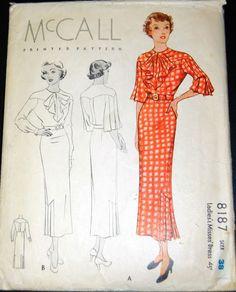 Vintage Original McCall 30's Printed Dress Pattern No. 8187