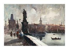 Dusan Djukaric Watercolor, Praque, 38x56 cm