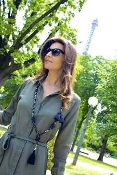 #robechemise #shirtdress #dress #khaki #jildhostun #necklace #sautoir #jewelry #jewellery #chic #stylish #stylist #fashionista #robe #boohoo.com @boohooofficial #ootd #outfit #lookoftheday