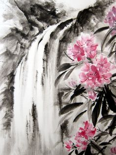 Japanese Ink Painting, Sumi-e, Suibokuga, Landscape, Rice paper painting, Pink Black, Large  Waterfall and Rhododendron painted with Sumi - ink and